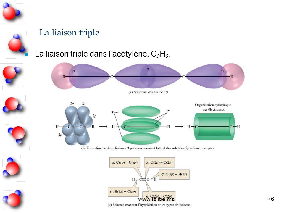 La liaison triple La liaison triple dans l'acétylène, C2H2.