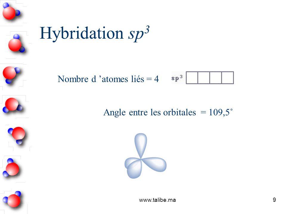 Hybridation sp3 Nombre d 'atomes liés = 4