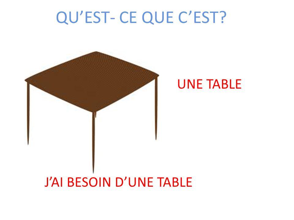 QU'EST- CE QUE C'EST UNE TABLE J'AI BESOIN D'UNE TABLE