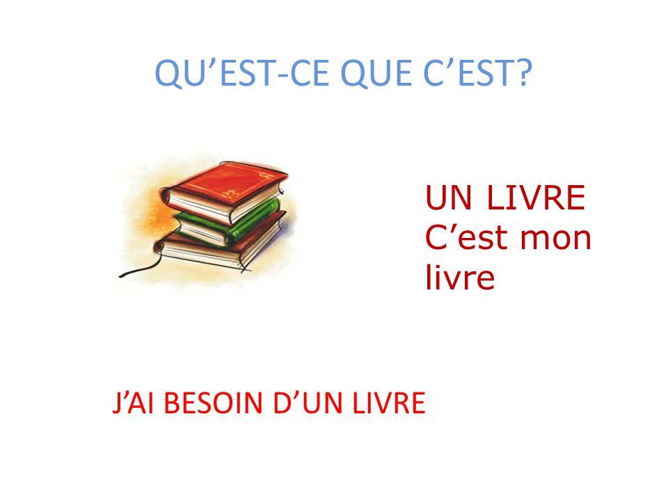 QU'EST-CE QUE C'EST UN LIVRE C'est mon livre J'AI BESOIN D'UN LIVRE
