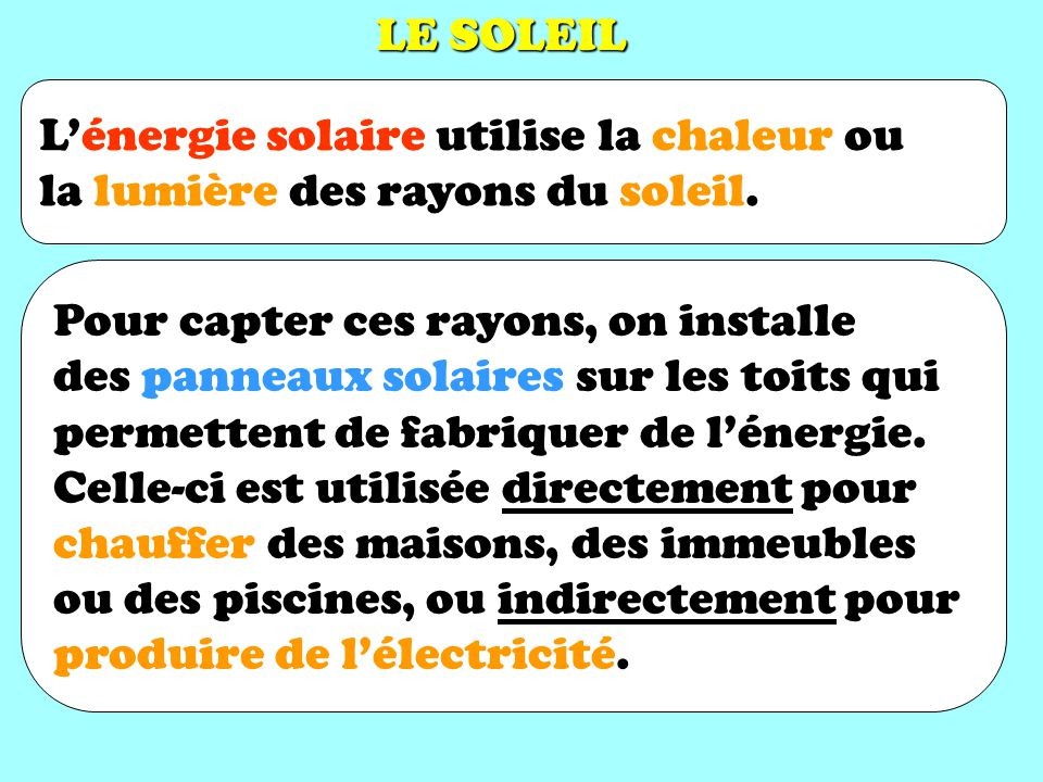 LE SOLEIL L'énergie solaire utilise la chaleur ou. la lumière des rayons du soleil. Pour capter ces rayons, on installe.