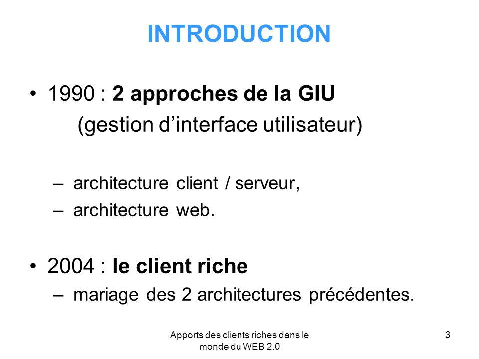 Apports des clients riches dans le monde du web ppt for Architecture client serveur