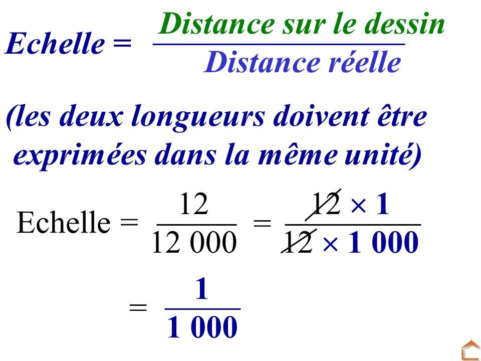 Distance sur le dessin Distance réelle. Echelle = (les deux longueurs doivent être. exprimées dans la même unité)
