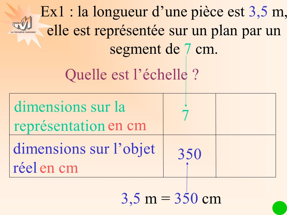 dimensions sur la représentation 7 en cm dimensions sur l'objet réel