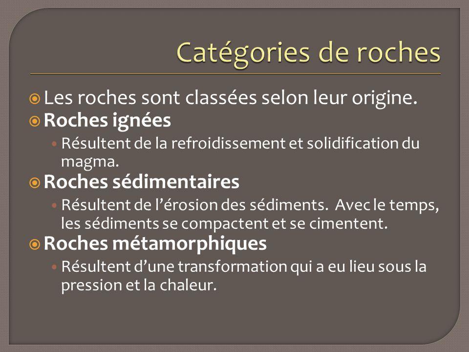 Catégories de roches Les roches sont classées selon leur origine.