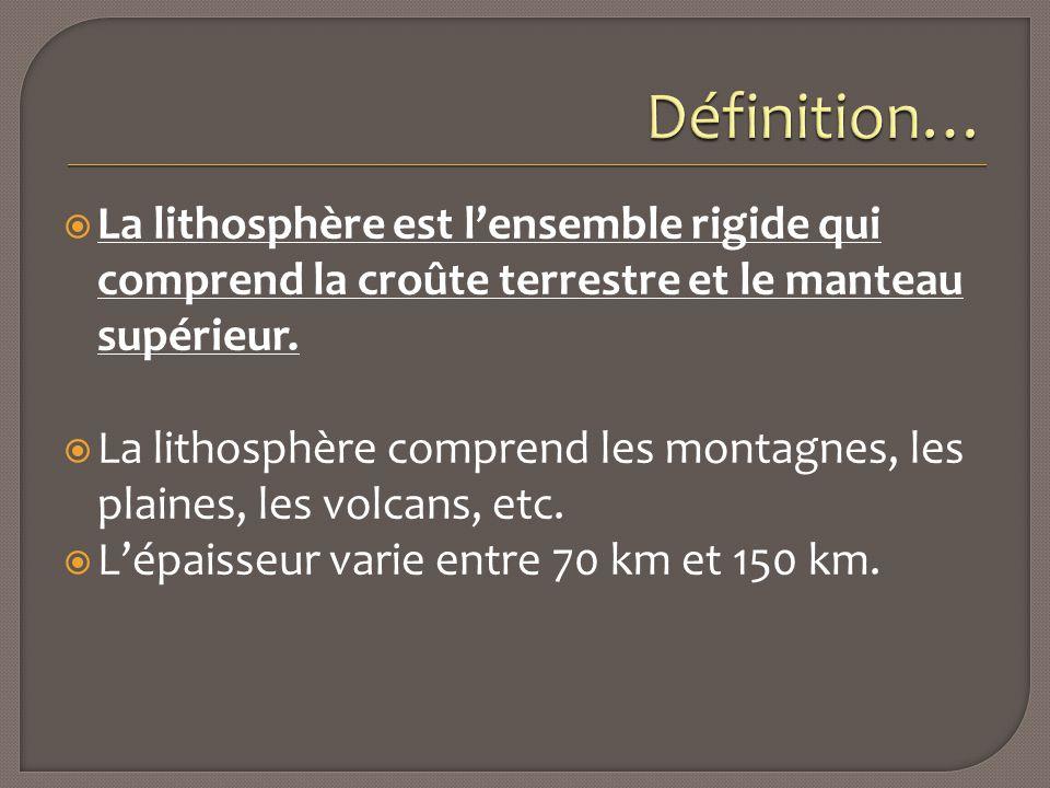 Définition… La lithosphère est l'ensemble rigide qui comprend la croûte terrestre et le manteau supérieur.