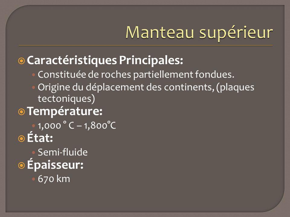 Manteau supérieur Caractéristiques Principales: Température: État: