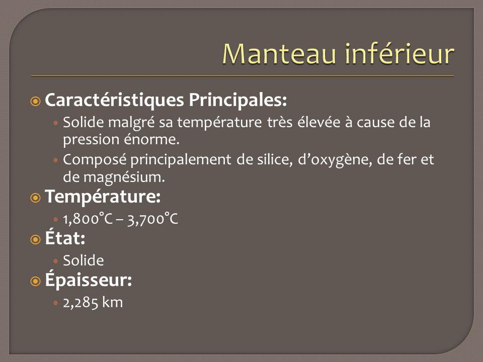 Manteau inférieur Caractéristiques Principales: Température: État: