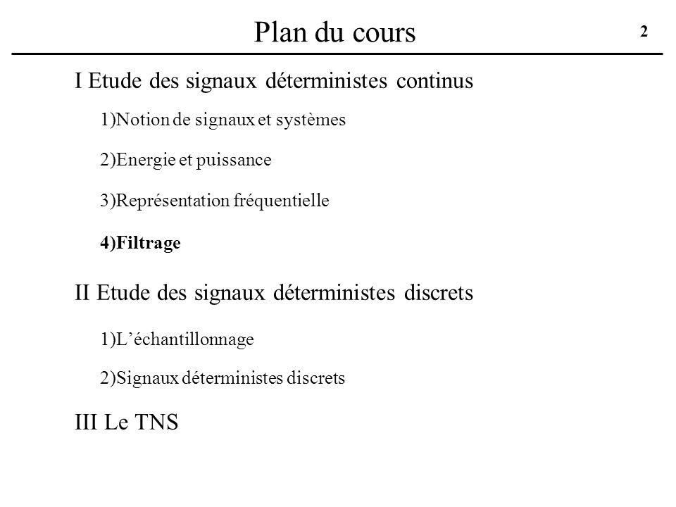 Plan du cours I Etude des signaux déterministes continus