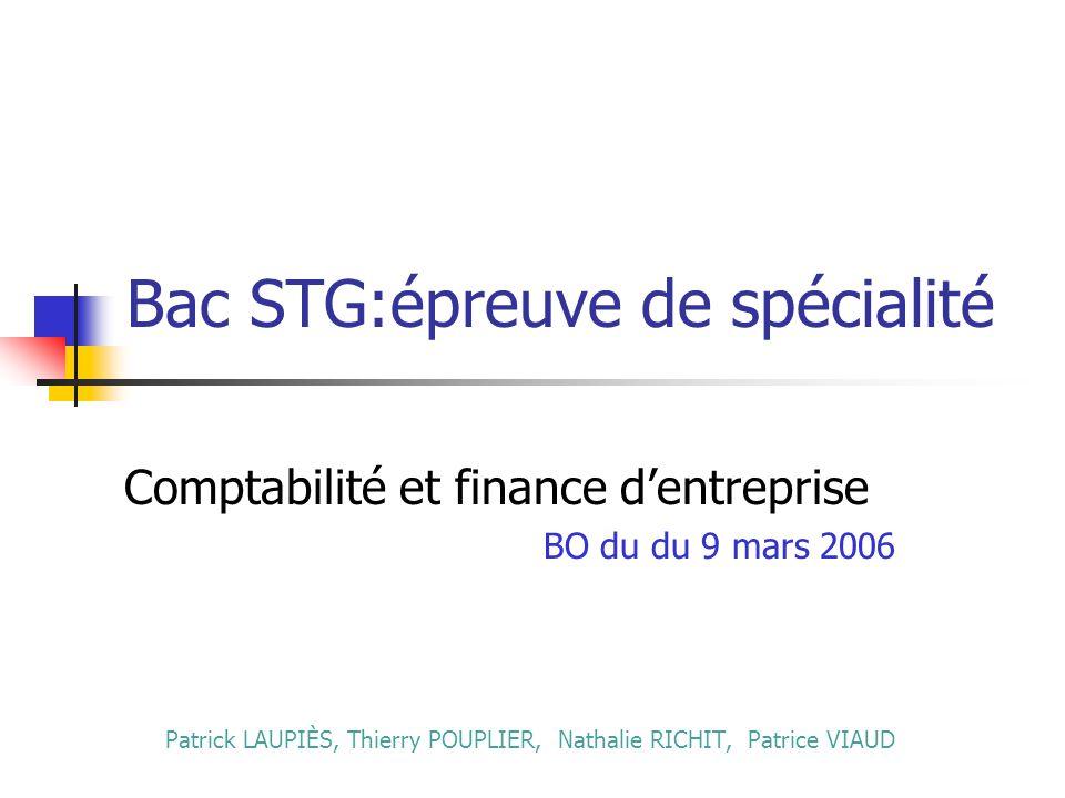 Bac STG:épreuve de spécialité