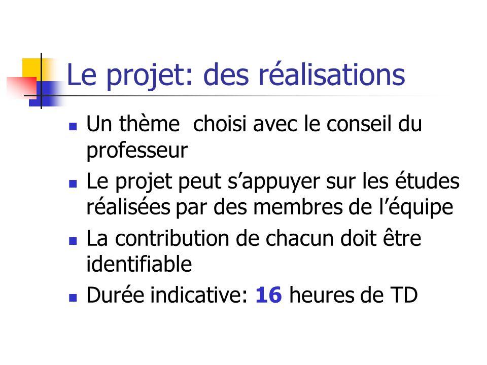 Le projet: des réalisations