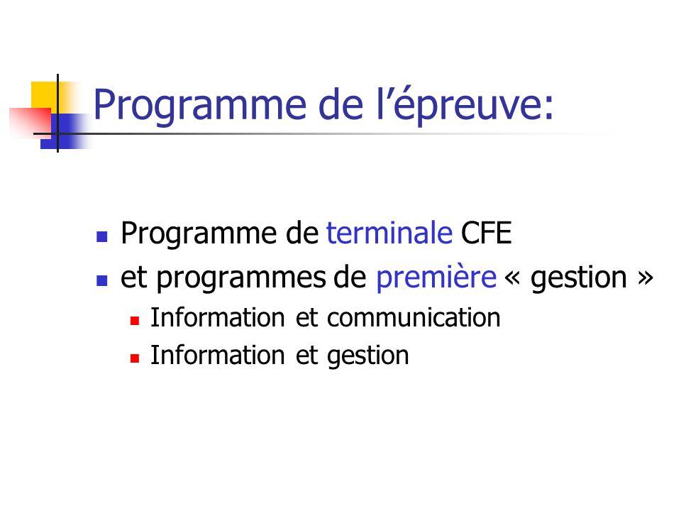 Programme de l'épreuve:
