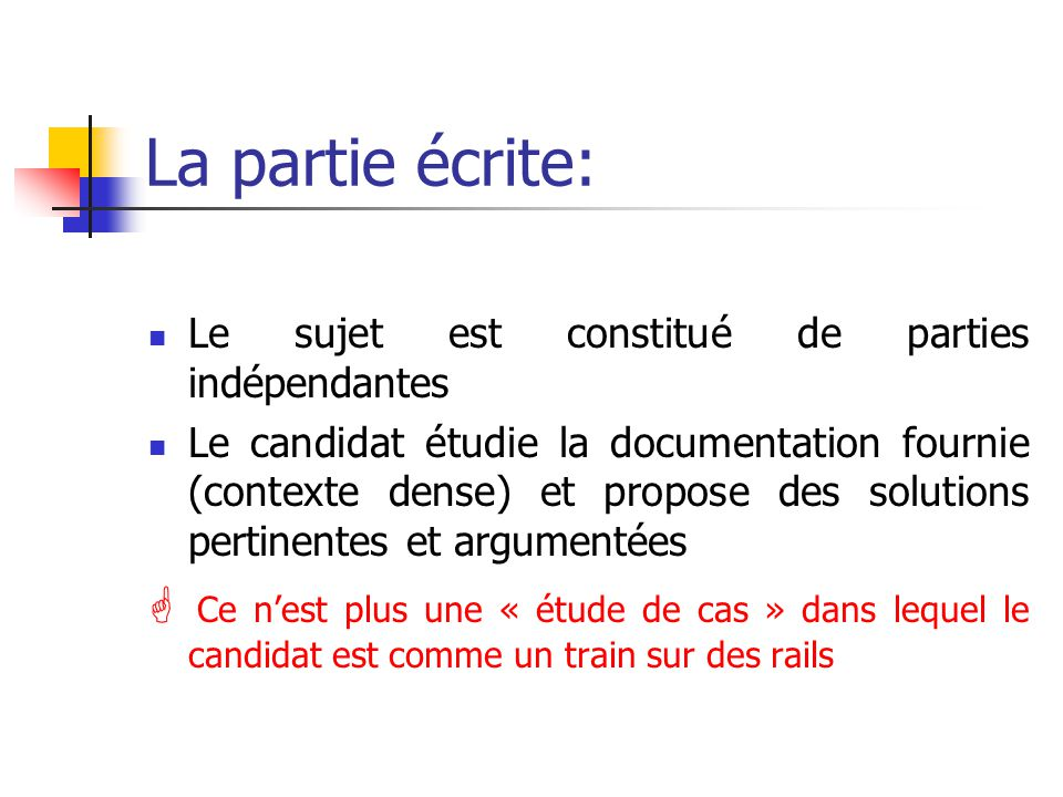 La partie écrite: Le sujet est constitué de parties indépendantes.