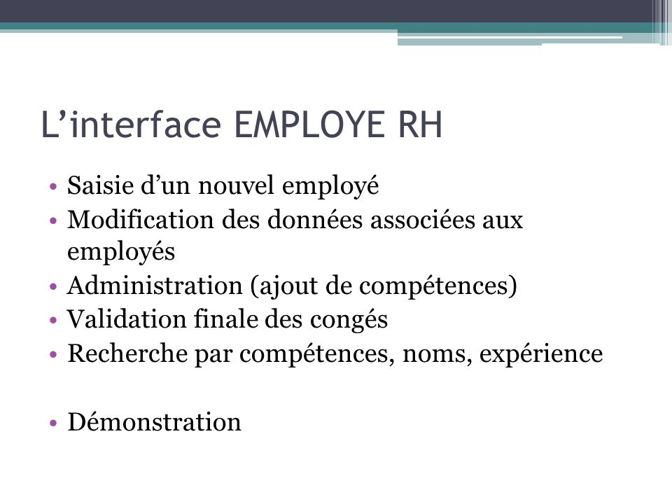 L'interface EMPLOYE RH