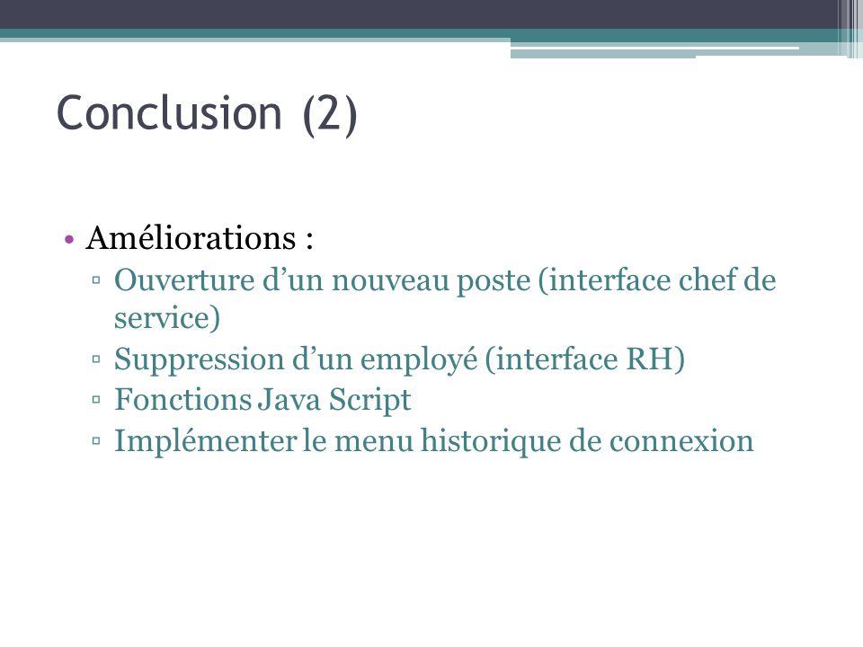 Conclusion (2) Améliorations :