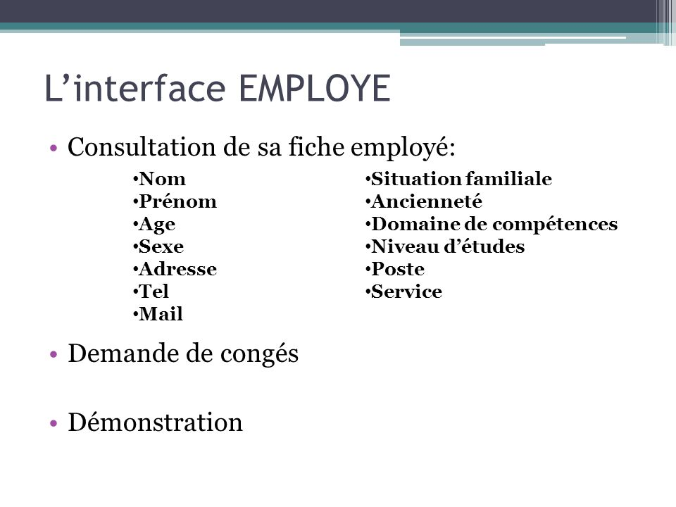 L'interface EMPLOYE Consultation de sa fiche employé: