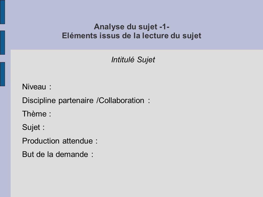 Analyse du sujet -1- Eléments issus de la lecture du sujet