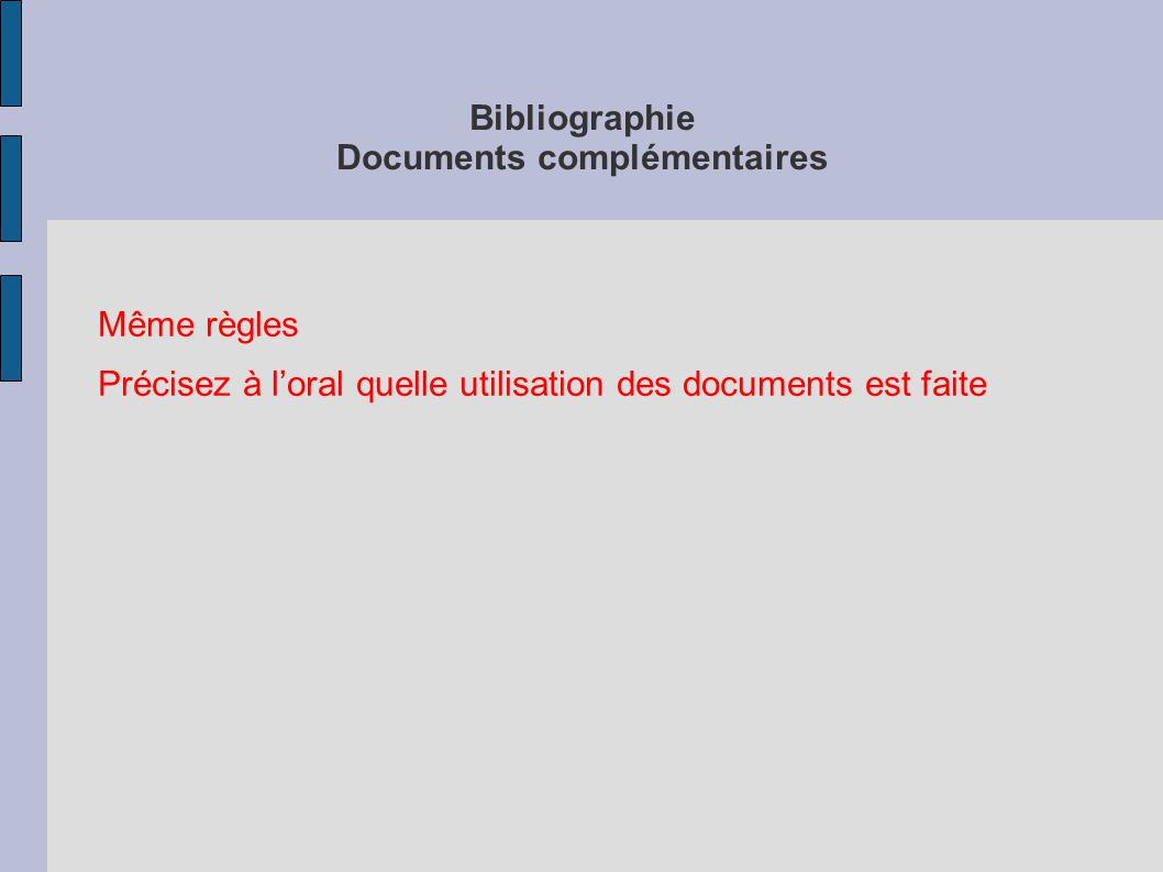 Bibliographie Documents complémentaires