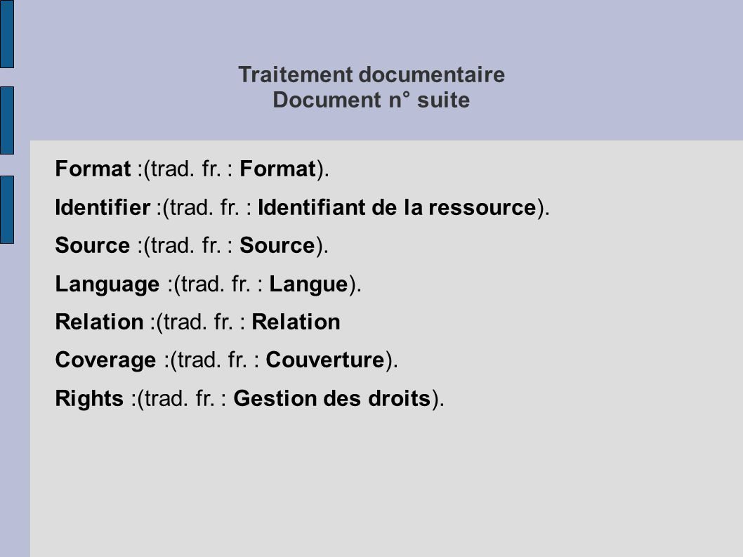 Traitement documentaire Document n° suite