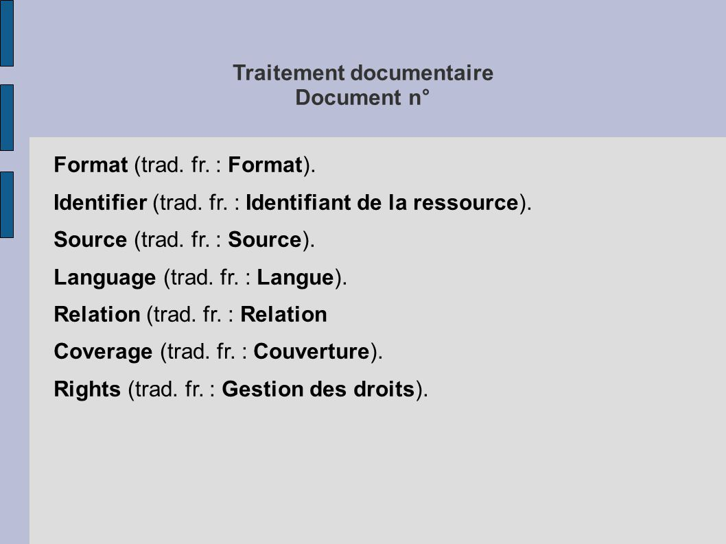 Traitement documentaire Document n°