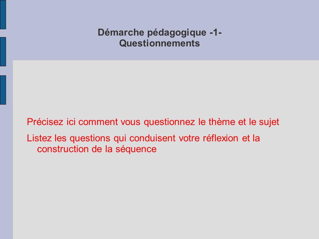 Démarche pédagogique -1- Questionnements