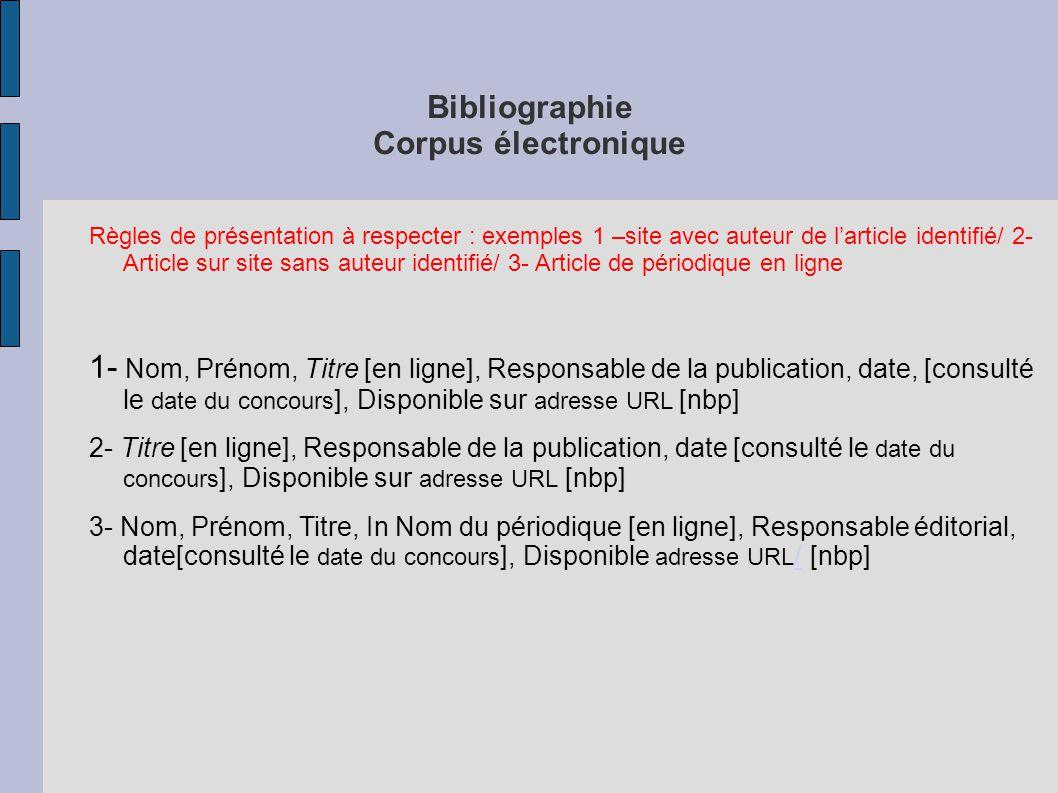 Bibliographie Corpus électronique