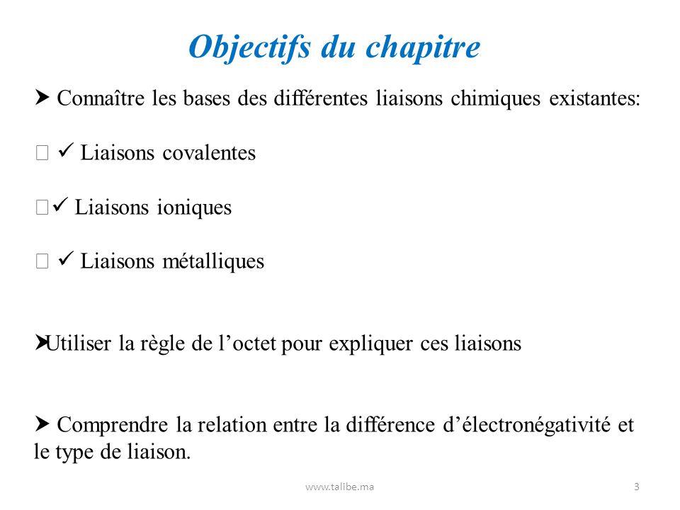 Objectifs du chapitre  Connaître les bases des différentes liaisons chimiques existantes:   Liaisons covalentes.