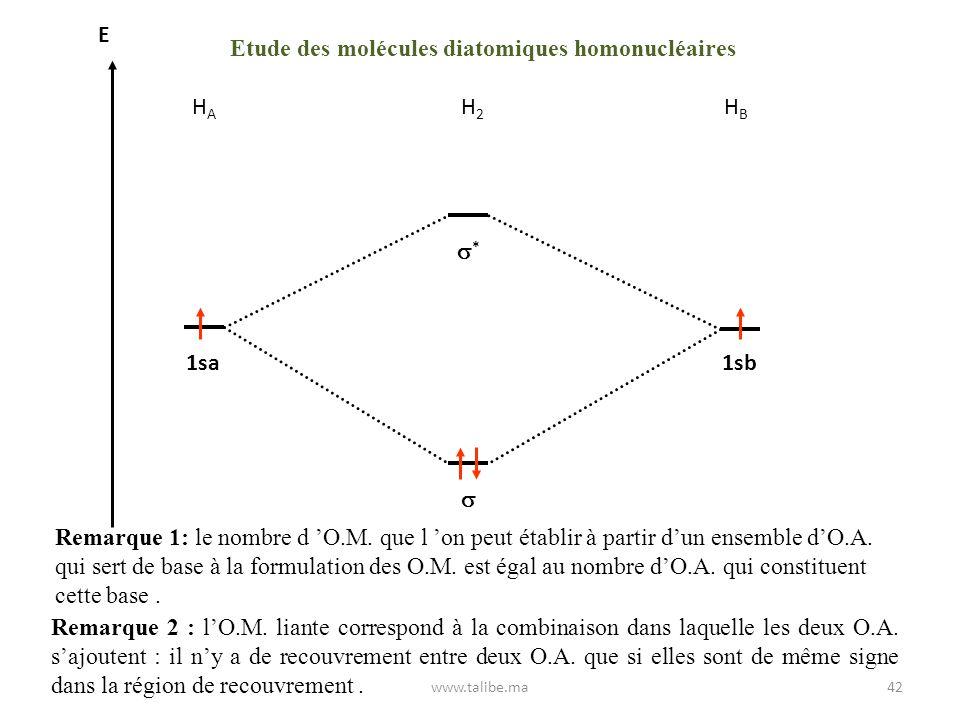 Etude des molécules diatomiques homonucléaires