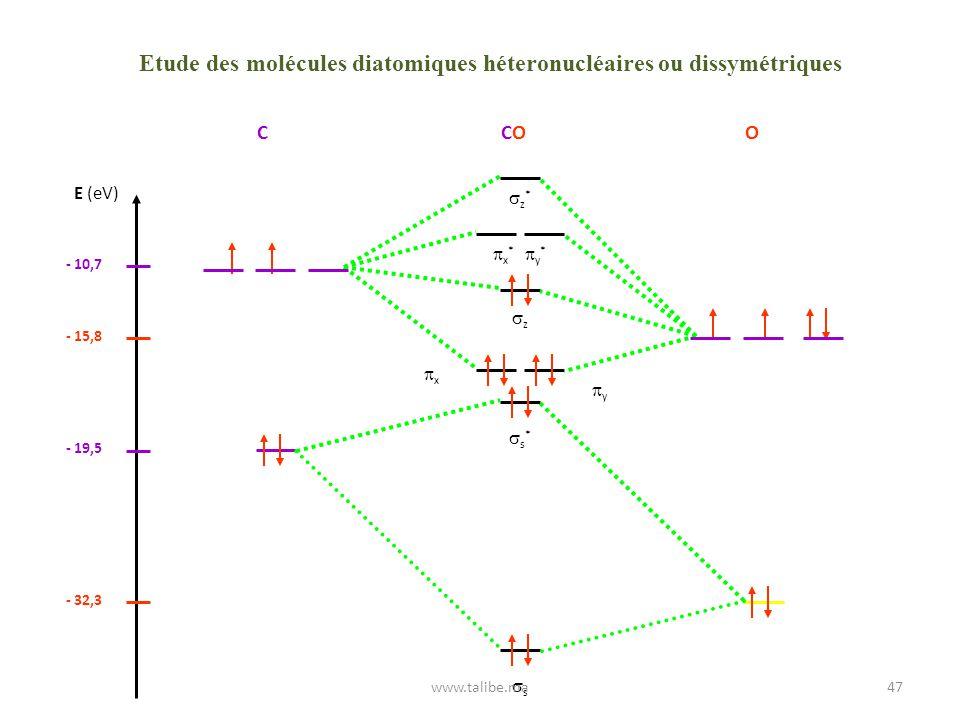 Etude des molécules diatomiques héteronucléaires ou dissymétriques