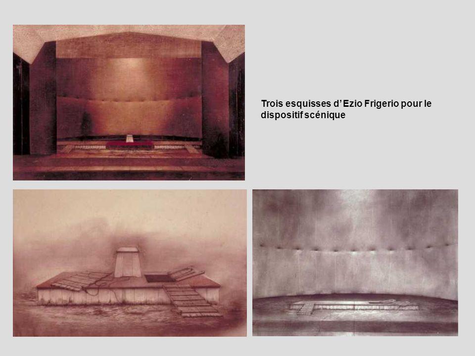 Trois esquisses d' Ezio Frigerio pour le dispositif scénique