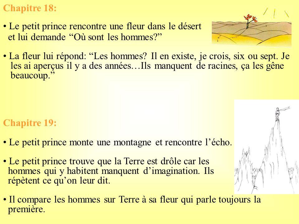 Chapitre 18: Le petit prince rencontre une fleur dans le désert. et lui demande Où sont les hommes