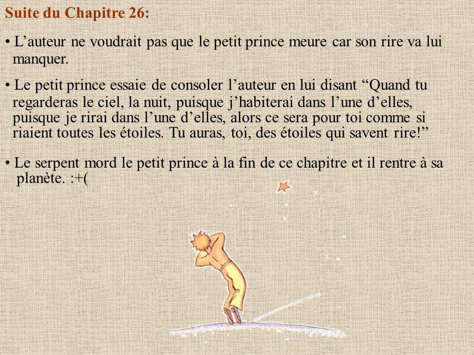 Suite du Chapitre 26: L'auteur ne voudrait pas que le petit prince meure car son rire va lui. manquer.