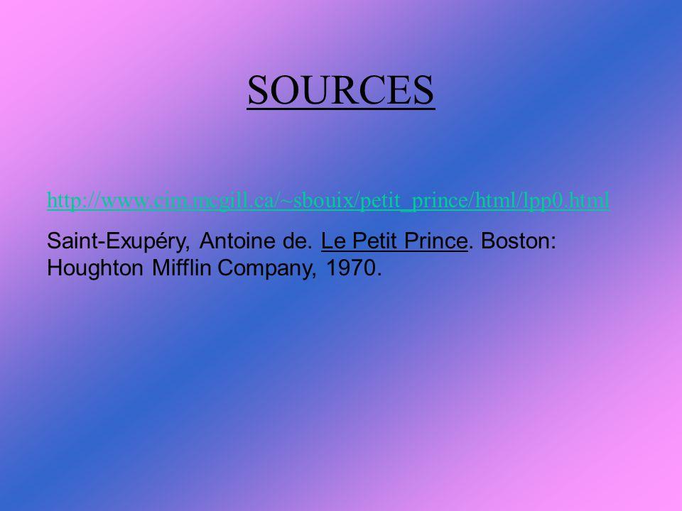SOURCES http://www.cim.mcgill.ca/~sbouix/petit_prince/html/lpp0.html