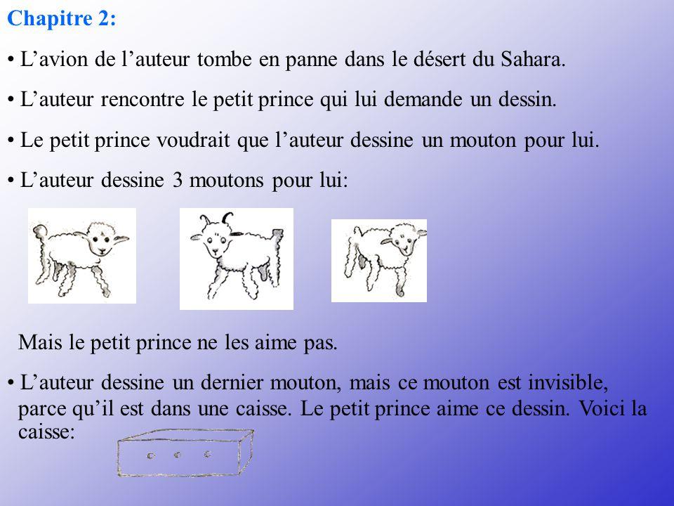 Chapitre 2: L'avion de l'auteur tombe en panne dans le désert du Sahara. L'auteur rencontre le petit prince qui lui demande un dessin.