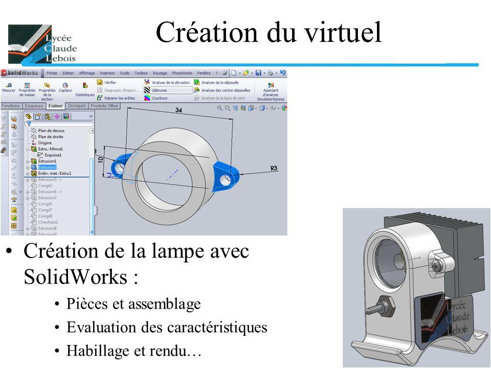 Création du virtuel Création de la lampe avec SolidWorks :