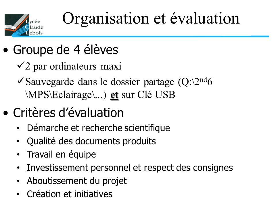 Organisation et évaluation