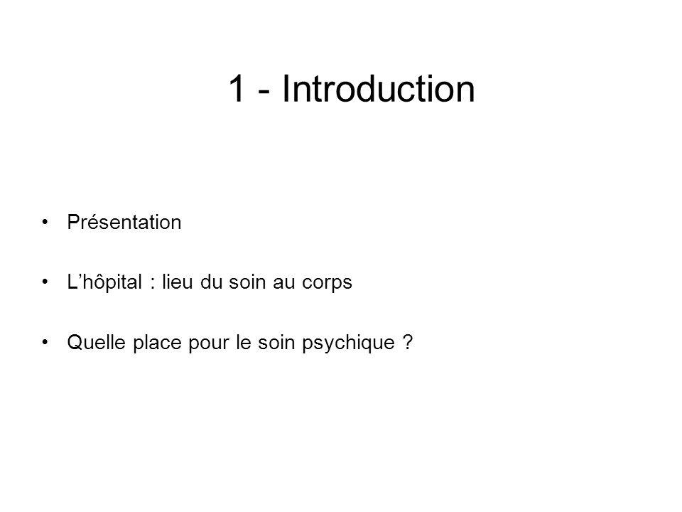 1 - Introduction Présentation L'hôpital : lieu du soin au corps