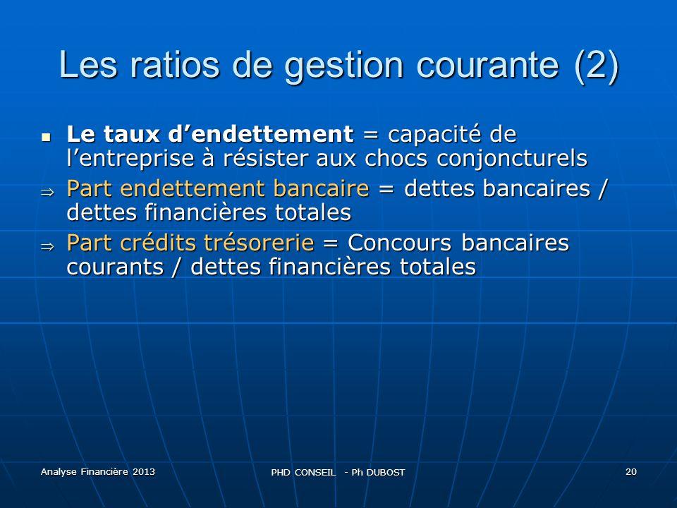 Les ratios de gestion courante (2)