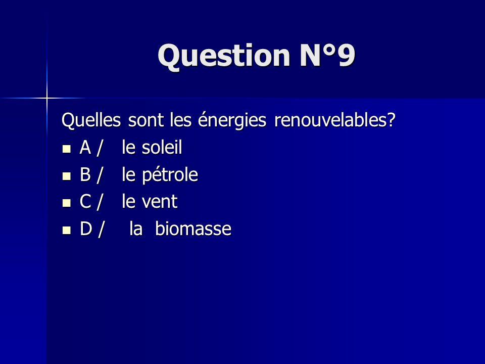Question N°9 Quelles sont les énergies renouvelables A / le soleil