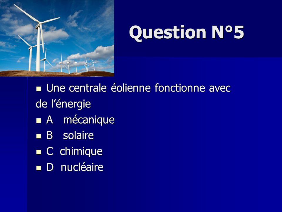 Question N°5 Une centrale éolienne fonctionne avec de l'énergie