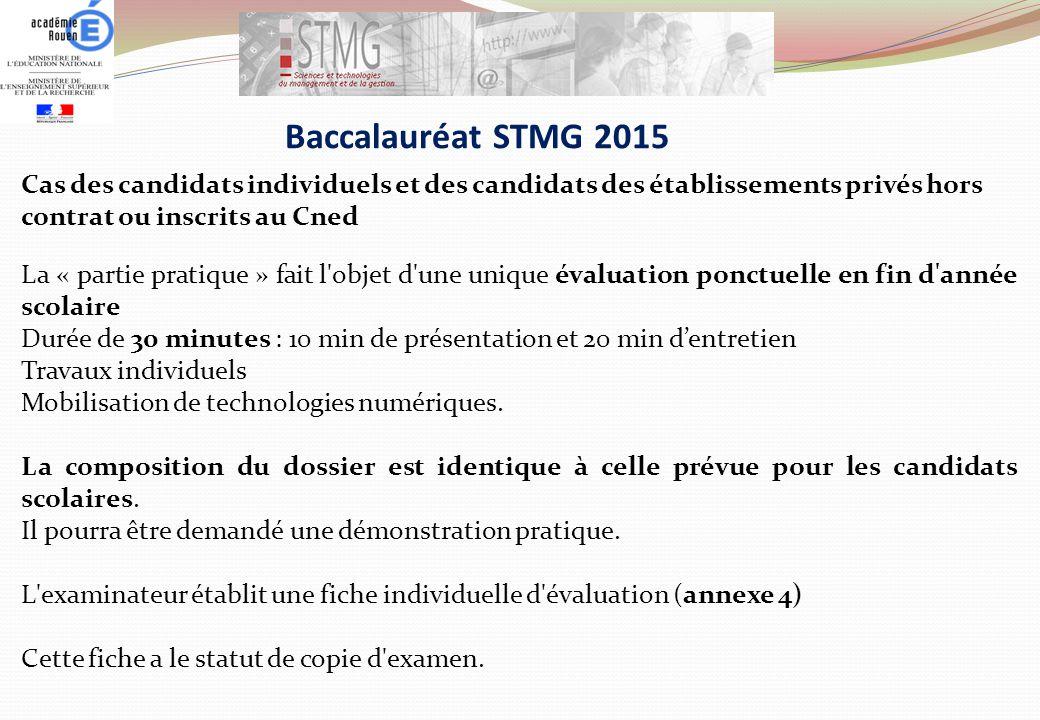 Baccalauréat STMG 2015 Cas des candidats individuels et des candidats des établissements privés hors contrat ou inscrits au Cned.
