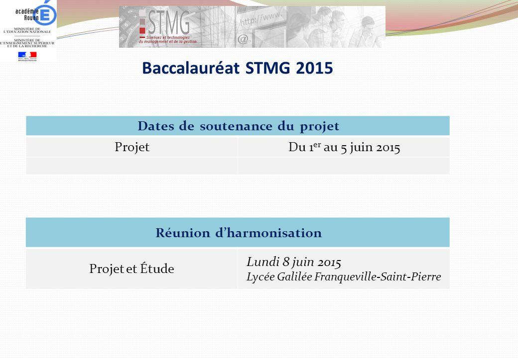 Baccalauréat STMG 2015 Dates de soutenance du projet Projet