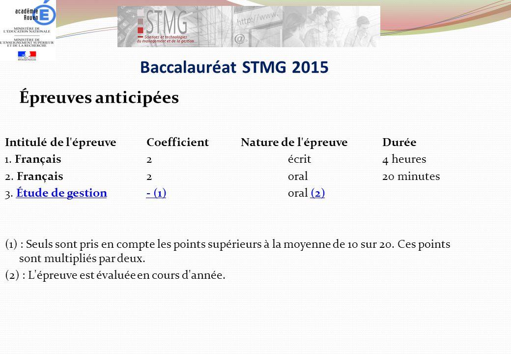 Baccalauréat STMG 2015 Épreuves anticipées