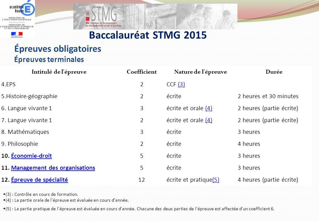 Baccalauréat STMG 2015 Épreuves obligatoires Épreuves terminales 4.EPS