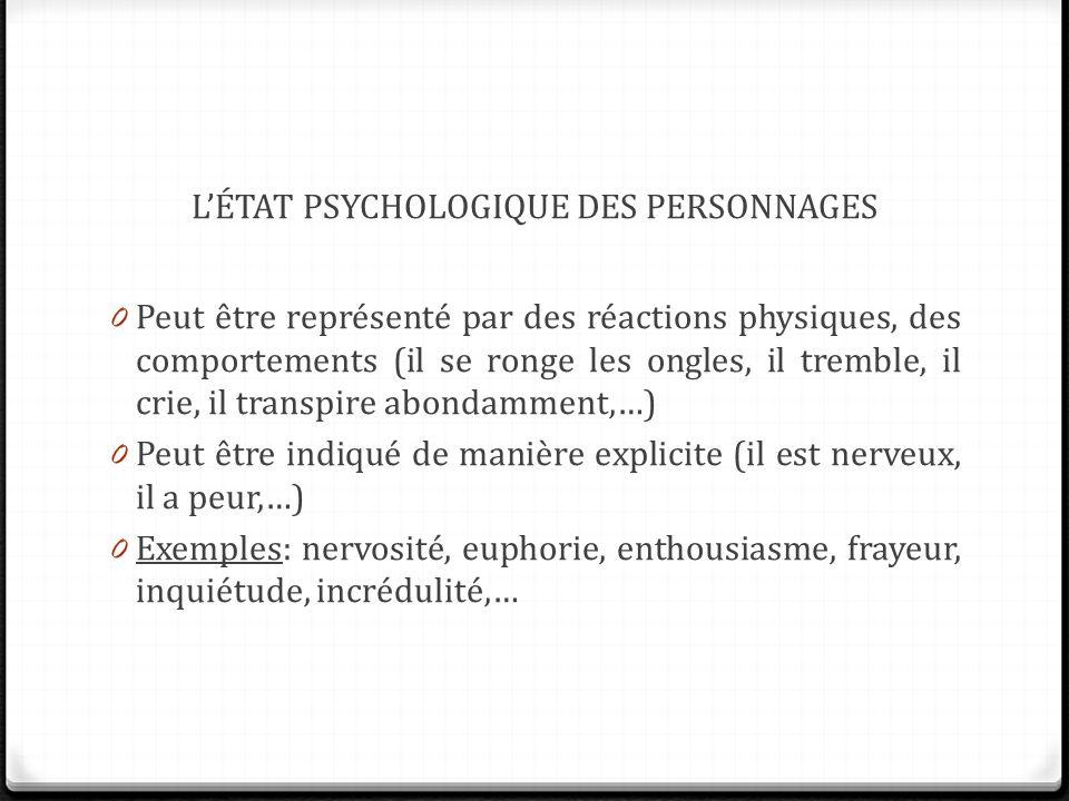 L'état psychologique des personnages