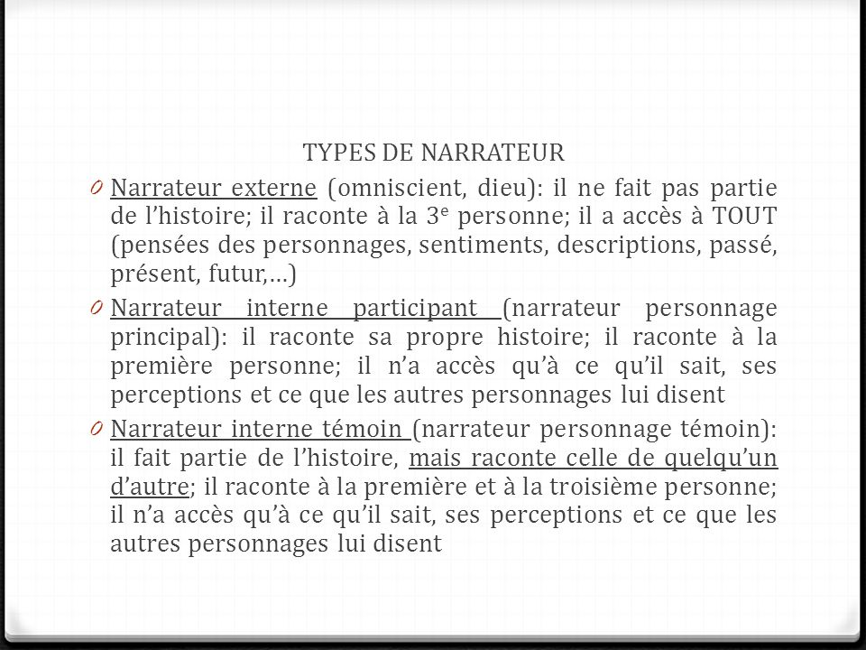 TYPES DE NARRATEUR