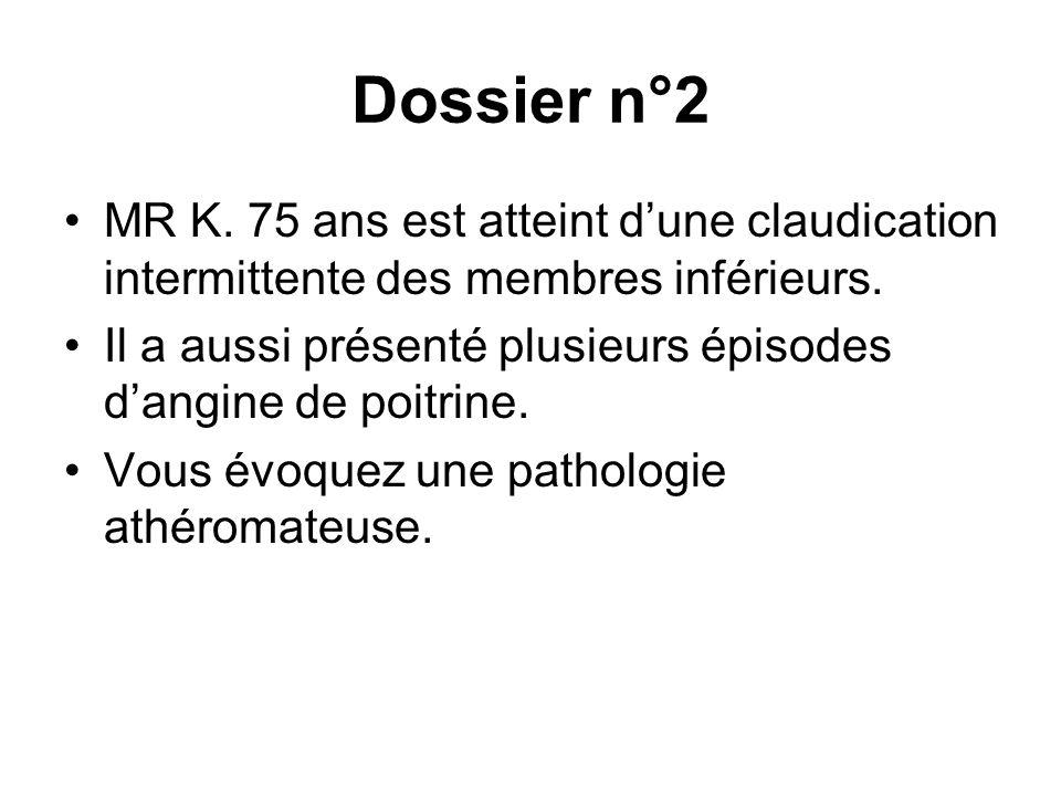 Dossier n°2 MR K. 75 ans est atteint d'une claudication intermittente des membres inférieurs.