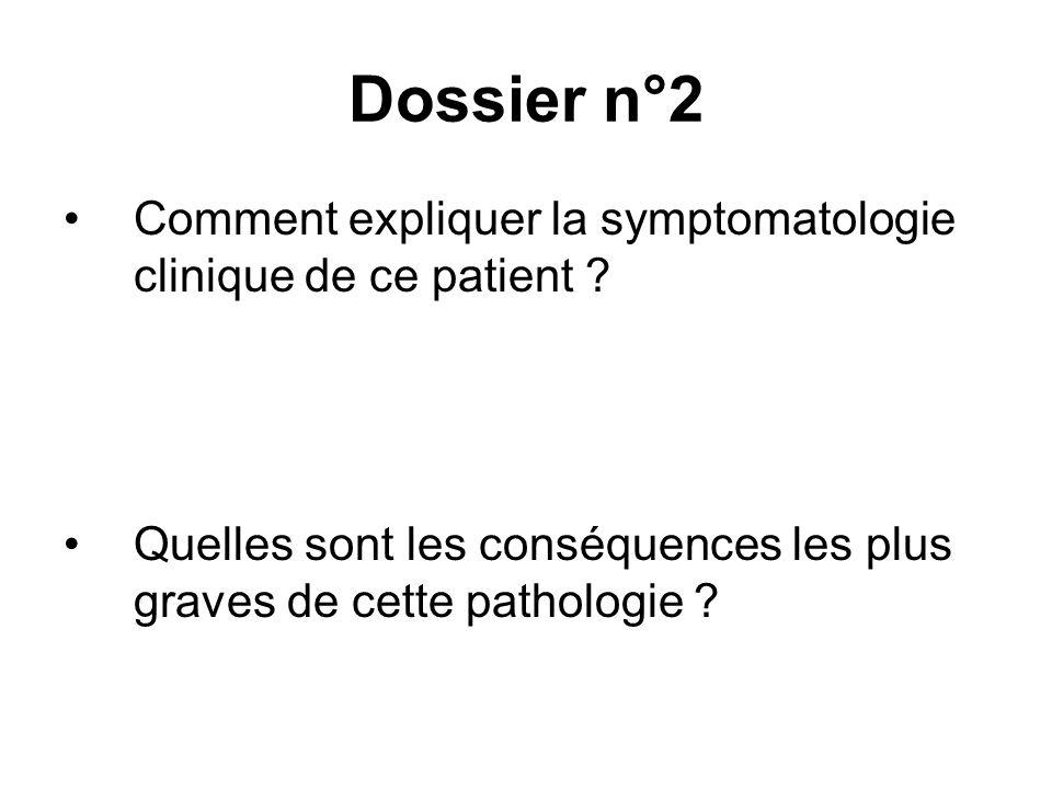 Dossier n°2 Comment expliquer la symptomatologie clinique de ce patient .