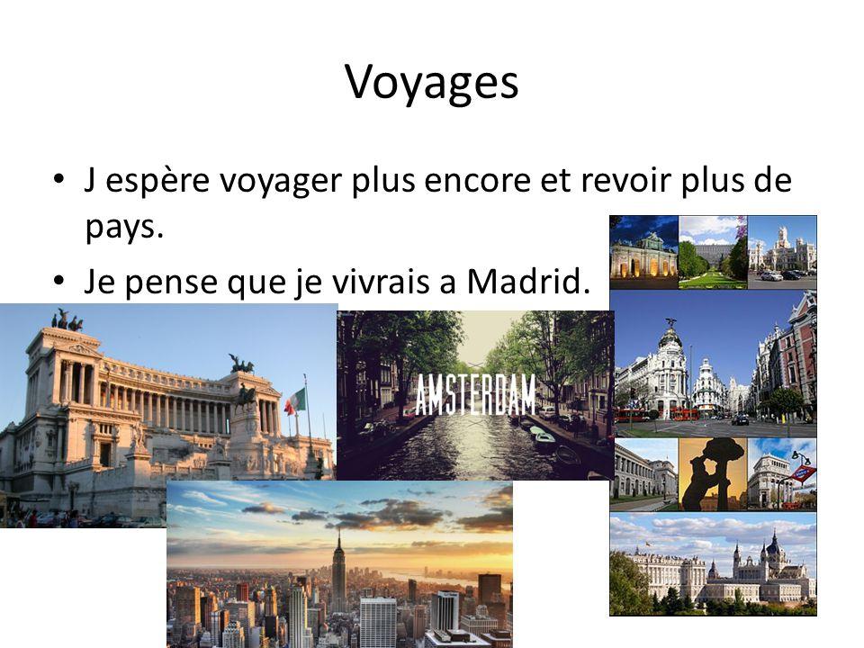 Voyages J espère voyager plus encore et revoir plus de pays.
