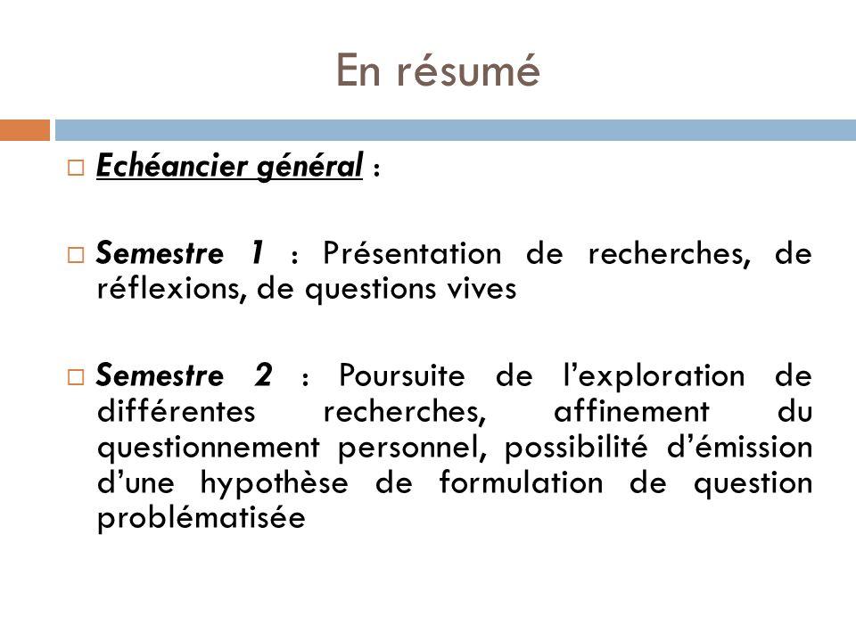 En résumé Echéancier général :